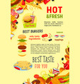 fast food restaurant burgers meals poster vector image vector image