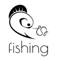 fishing emblem of hook fishing line and fish vector image vector image