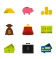 Funding icons set flat style vector image