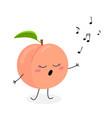 funny cartoon peach singer vector image vector image
