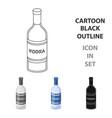 Glass bottle of vodka icon in cartoon style