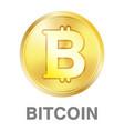 golden bitcoin coin logo on a white background vector image