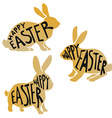 Golden easter rabbits vector image