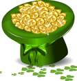 green hat with money vector image vector image