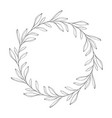 hand drawn floral wreath round frame with leaves vector image vector image