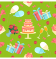 Happy Birthday Seamless Pattern with Cake Flowers vector image vector image