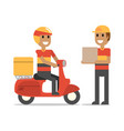 happy delivery man on duty vector image vector image