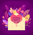 happy mother s day floral greeting card flowers vector image