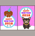 happy new year 2018 dogs set vector image vector image
