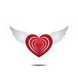 heart with wings love flat design icon vector image