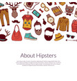 hipster doodle icons background with place vector image