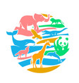 icon in the form of animal silhouettes vector image vector image