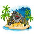 isolated pirate island on white background vector image