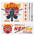 kendo japanese martial art set of elements vector image