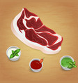 lamb with tasty sauces and spices vector image vector image