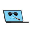 laptop cool serious emoji face avatar computer vector image
