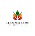 leaf yoga logo design concept template vector image vector image