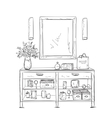 Make up Vanity table and beauty boxes vector image