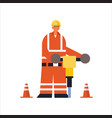 male builder drilling with jackhammer busy workman vector image