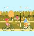 man and woman couple ride bicycles in public park vector image