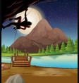 man climbing rock on fullmoon night vector image vector image