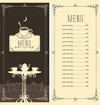 menu for night street cafe or restaurant vector image vector image
