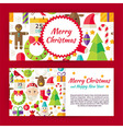 merry christmas flat style template banners set vector image vector image