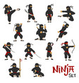 Ninja warrior set of cartoon character vector image