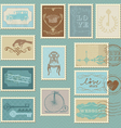 retro postage stamps - for wedding invitation vector image vector image