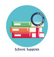 school supplies set icons vector image vector image