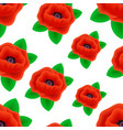 seamless pattern of realistic poppy flowers vector image