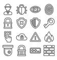 security icons on white background line style vector image vector image