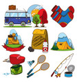 set in tourism theme color travel logos vector image vector image