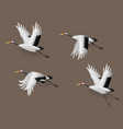 set japanese crane birds flying vector image vector image