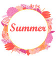 summer with bright flowers in a round vector image