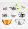 tea brewing bag realistic transparent icon set vector image vector image