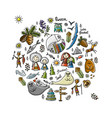 travel icons set baikal russia sketch for your vector image