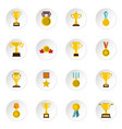 trophy set flat icons vector image vector image