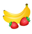 two yellow bananas and red strawberries isolated vector image