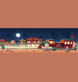 wild west steam train at night western town vector image vector image