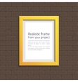 Yellow frame on white brick wall vector image vector image