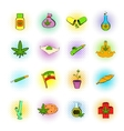 Medical marijuana icons comics style vector image