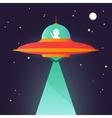 Ufo Alien in night sky vector image