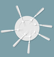 many forks in empty plate View from top Food ended vector image