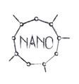 nano molecular structure icon in blurred vector image