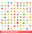 100 vegetarian icons set cartoon style vector image vector image