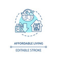 affordable living turquoise concept icon