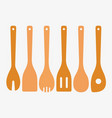bamboo cooking utensils vector image vector image