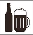 beer mug and bottle vector image vector image