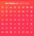 big multimedia icon set trendy linear icons vector image vector image